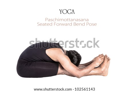 Yoga paschimottanasana forward bend pose by Indian man in black cloth isolated at white background. Free space for text and can be used as template for web-site - stock photo