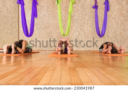 Yoga practicing. Women practicing yoga at health club - stock photo