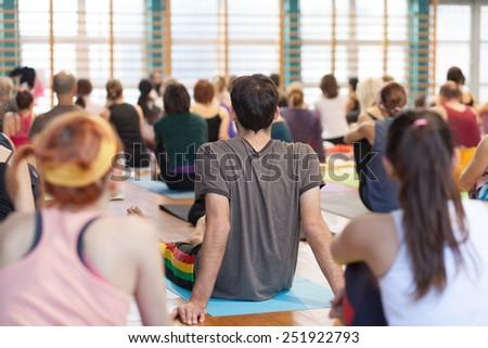 yoga seminar - stock photo