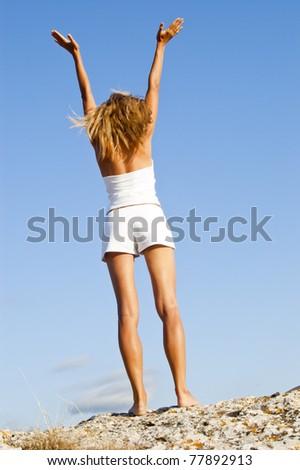 Yoga seria: Hasta Uttanasana - stock photo