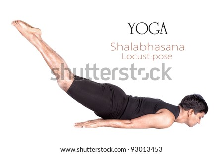 Yoga shalabhasana locust pose by Indian man in black cloth isolated at white background. Free space for text and can be used as template for web-site - stock photo