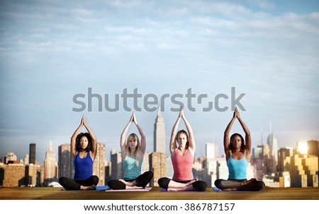 Yoga Spiritual Cityscape Concentration Peaceful Concept - stock photo