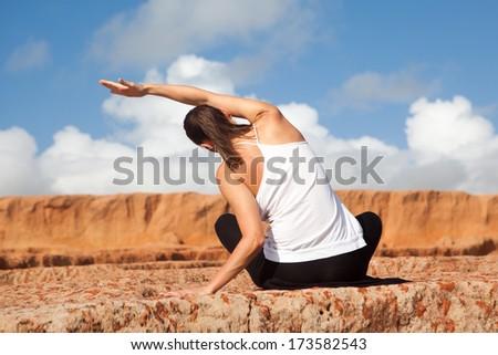 yoga stretching - stock photo