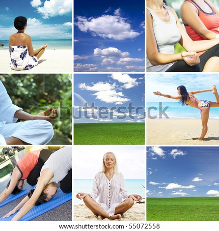 Yoga theme collage composed of different images - stock photo