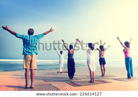 Yoga Wellbeing Exercise Beach Concept - stock photo