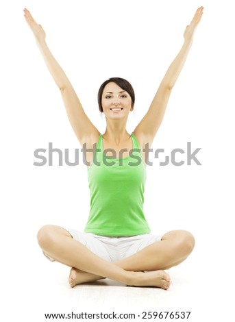 Yoga Woman, Happy Female Open Hands Raised Up, Sitting in Lotus Pose. Girl Advertise Sport Exercise, Isolated Over White Background - stock photo