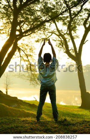 Yoga woman in the morning - stock photo