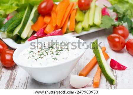 yoghurt sauce with mustard and fresh vegetables, close-up - stock photo