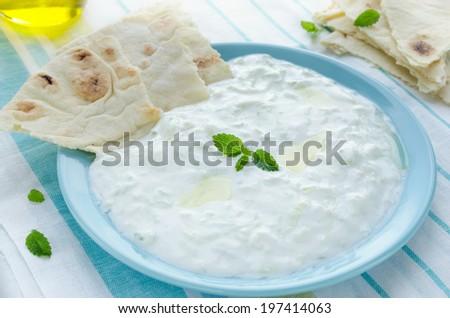 Yogurt sauce with cucumber, garlic, herbs, olive oil; tzatziki on plate with pita - stock photo