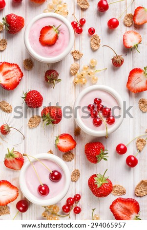 Yogurt with fresh fruits. Delicious and healthy breakfast - stock photo