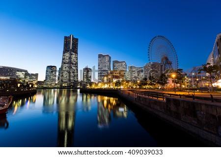 Yokohama city at night - stock photo
