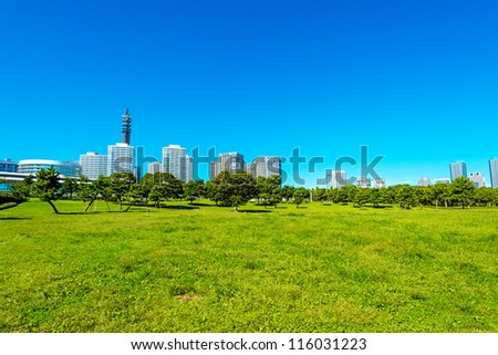 Yokohama City skyline from the Rinko Park, Yokohama, Japan - stock photo