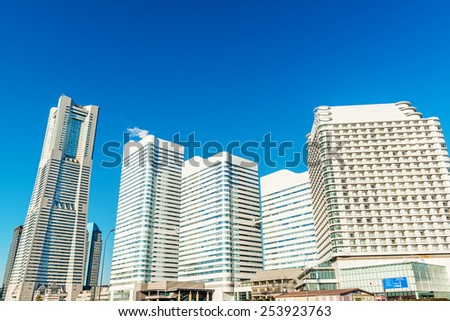 YOKOHAMA, JAPAN - February 11: Yokohama Minato Mirai 21 in Yokohama City, Japan on February 11, 2015. It is a large urban development and the central business district of Yokohama, Japan. - stock photo