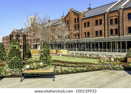 Yokohama Red Brick Warehouse at the flowers garden in Japan - stock photo