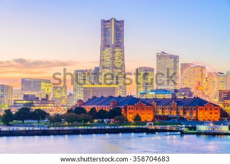 Yokohama skyline city at sunset times - stock photo
