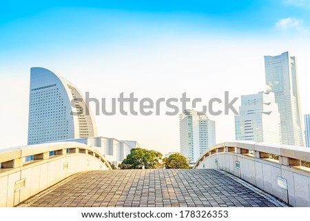 Yokohama Skyline on a clear winter Day.  - stock photo
