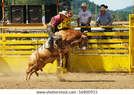 YONCALLA, OR - JULY 4: Bull Riding on the 4th of July in this Northwest Professional Rodeo Association stop in the small southern Oregon town. July 04, 2010 in Yoncalla, OR - stock photo