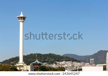 Yongdusan Tower in Busan city, Korea - stock photo