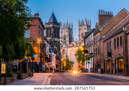 York evening cityscape view from the street with York Minster in the background. - stock photo