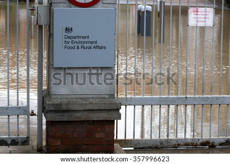 YORK, UK - DECEMBER 28th 2015: Flooded Department for Environment Food & Rural Affairs offices in York after heavy rain, on 28th December  2015, - stock photo