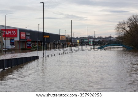 YORK, UK - DECEMBER 28th 2015: Flooded streets of Foss Island in York City Centre after heavy rain, on 28th December  2015. - stock photo