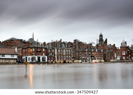 YORK, UK - DECEMBER 5th 2015: Floodwater at the Ouse Bridge in York City Centre after heavy rain, on 5th December  2015. - stock photo