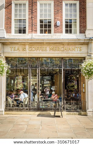 York,United Kingdom -August 6, 2015: Street view over Bettys Tea Rooms, York,UK. Bettys Tea Room are traditional tea rooms serving traditional meals with influences both from Switzerland and Yorkshire - stock photo