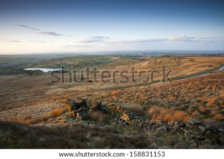 yorkshire dales autumn view - stock photo