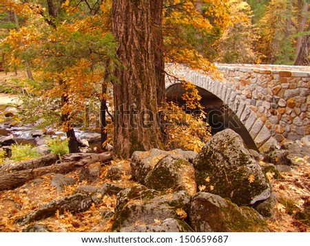 Yosemite Bridge in Autumn                                - stock photo