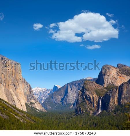 Yosemite el Capitan and Half Dome in California National Parks US - stock photo
