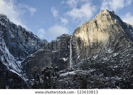 Yosemite Falls and El Capitan - stock photo