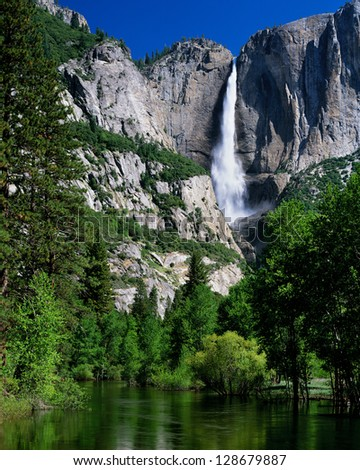 Yosemite Falls and Merced River, Yosemite National Park, California - stock photo