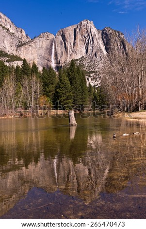 Yosemite Falls,Merced River Reflection, Yosemite National Park - stock photo