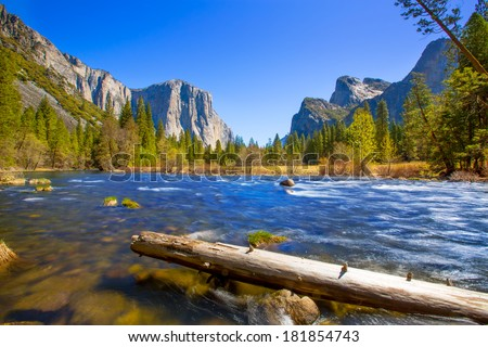 Yosemite Merced River el Capitan and Half Dome in California National Parks US - stock photo