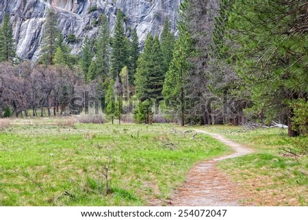 Yosemite National Park, California, United States - hiking trail in Yosemite Valley. - stock photo