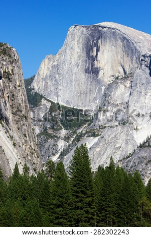 Yosemite National Park, California, Usa, portrait view of the Half Dome - stock photo