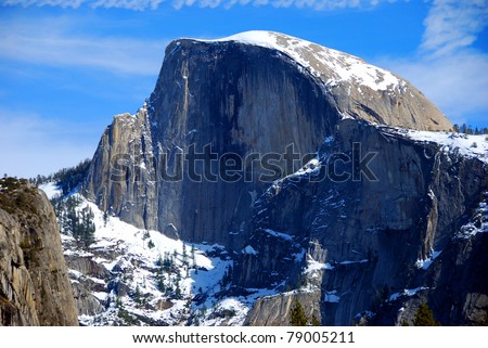 Yosemite National Park - Half Dome in Blue Cast - stock photo