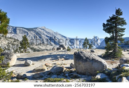 Yosemite National Park: Olmsted Point -The view from Olmsted Point at Yosemite national Park including Half Dome in the background. - stock photo
