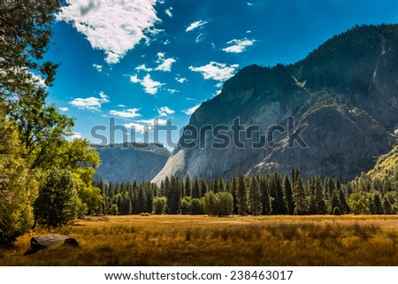 Yosemite National Park. View from valley - stock photo