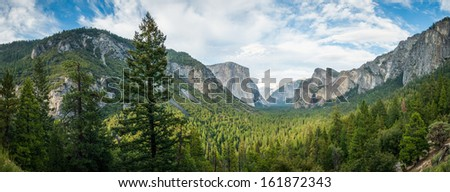 Yosemite panorama on the best viewing point in natunal park sierra nevada - stock photo