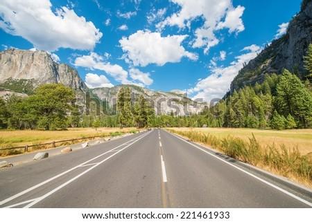 Yosemite Trip. Yosemite National Park Interior Road Through the Park. California, United States. - stock photo