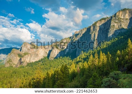 Yosemite Valley and the Sierra Nevada Mountains in California, United States. Scenic Mountain Vista. - stock photo