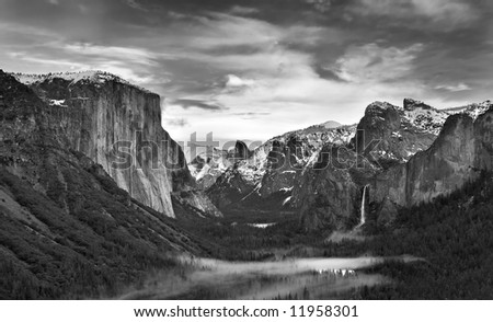 Yosemite Valley Black and White - stock photo