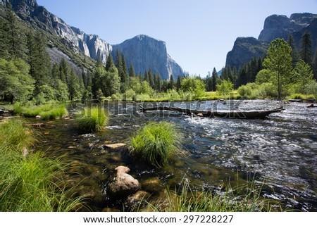 Yosemite Valley in Spring, Valley View, California - stock photo