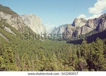 Yosemite Valley showing El Capitan and halfdome. California, USA. - stock photo