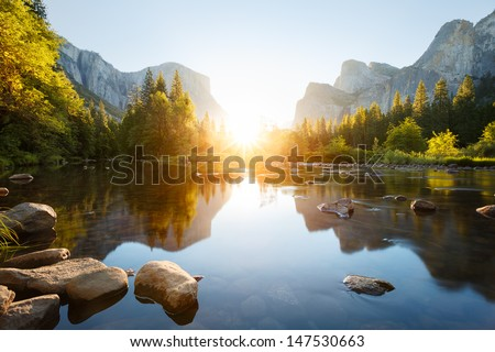 Yosemite valley sunrise - stock photo