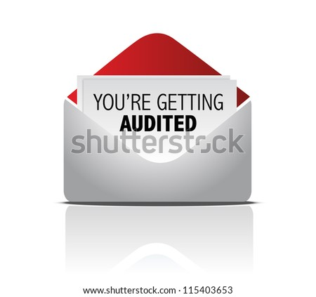 you are getting audited mail illustration design over white - stock photo