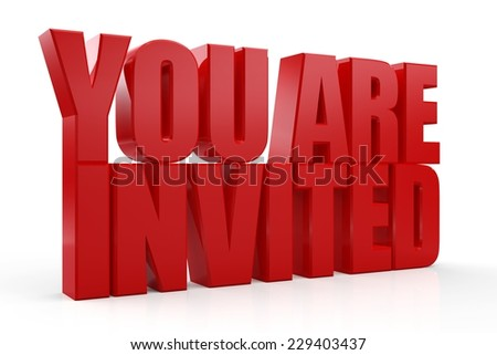 You are invited red text on white background - stock photo