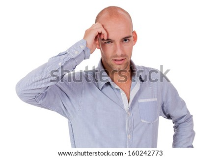 young adult businessman frustrated stressed headache isolated on white - stock photo