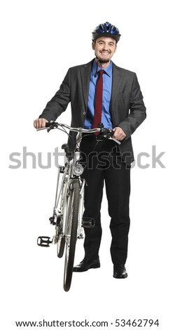 young adult businessman with bicycle on white background - stock photo